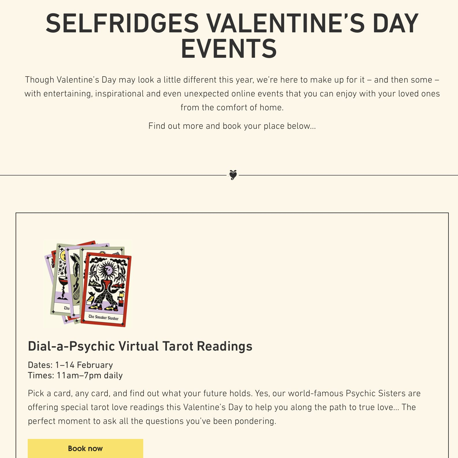 SELFRIDGES VALENTINE'S DAY EVENTS 1–14 FEBRUARY ,